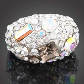 18K white GOLD GP full Swarovski crystal ring 1580