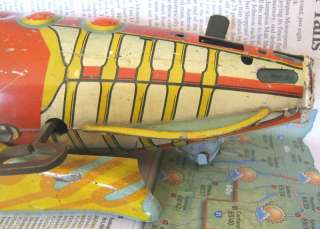 Vintage 1930s Marx Buck Rogers Tin Wind Up Rocket Ship toy