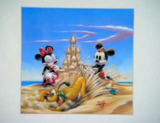 Framed Disney Mickey Minnie Pluto Sandcastle 20 X 20