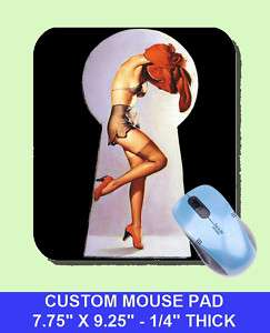 sexy GIL ELVGREN Pinup Girl Mouse Pad PEEK A VIEW KEY