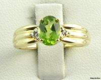 PERIDOT RING   Solid 10k Yellow Gold 1ct Oval Solitaire Diamond