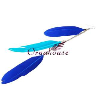 New Blue Mix Color Chicken Feather Earrings Dangle Drop Silver Plated