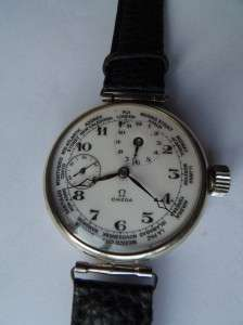 WWI military Officers Omega Worldtime wristwatch.Made for Bulgarian