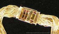 Vintage Estate Signed 18k Yellow Gold Bracelet w Rubies & Diamonds