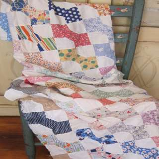 Tie Quilt Top  Cute 85 X 68 Polka Dots Stripes Whimsical Prints