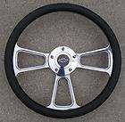 Billet steering wheel with a Chevy logo Billet Horn button Black half