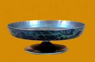 DURAND SIGNED MOST UNUSUAL PATTERN FOOTED PLATE COMPOTE