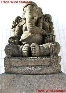 4ft TALL RARE SOLID STONE SCULPTURE LARGE LORD GANESH GANESHA BUDDHA
