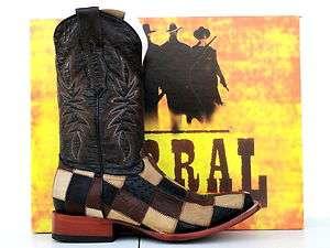 Corral Mens Black/Orix/Congo Patchwork Ostrich Cowboy Boots