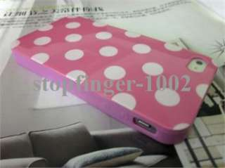 White Polka Dots TPU Soft Shell Case Cover for iPhone 4 4S