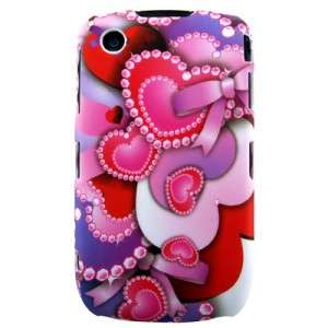 CAR CHARGER + LOVE HEART HARD BACK CASE COVER FOR Blackberry Curve