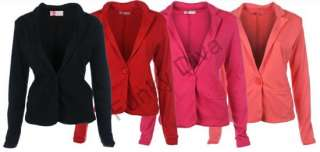 LADIES LONG SLEEVE BUTTON UP WOMENS BLAZER JACKET 4 COLOURS 8 10 12 14