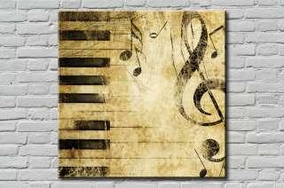 Tableau Canvas Déco PIANO Musique Vintage 20x20cm