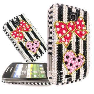 FOR SAMSUNG GALAXY MINI S5570 PINK HEART BLING DIAMOND HARD CASE