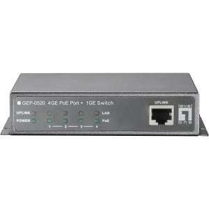 New   LevelOne GEP 0520 4 Port Gigabit PoE + 1 Port