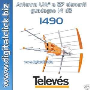 ANTENNA UHF A 27 ELEMENTI. GUADAGNO 15 DB. TELEVES 1490