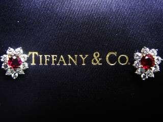 Tiffany & Co PLAT Gem Ruby Diamond Earrings 1.63CT