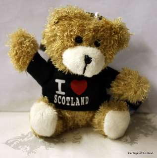 Love Scotland Teddy Bear Keyring Brown Black Red New