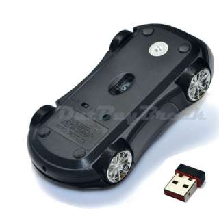 Black 2.4GHz Wireless 3D Car Optical Mouse Mice USB Receiver for PC