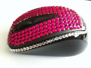 MICROSOFT HOT PINK DIAMANTE CRYSTAL USB WIRELESS MOUSE WITH NANO
