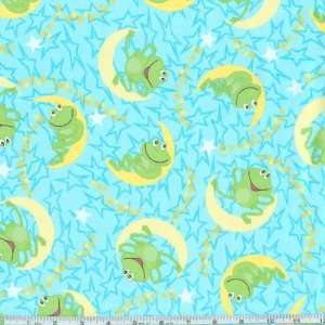 44 Wide Flannel Frogs Over The Moon Blue Fabric By The