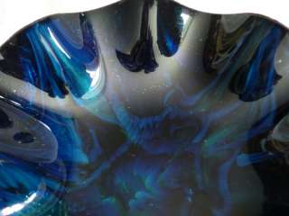 SEETUSEE MAYFAIR LEATHER BACK PSYCHEDELIC BLUE GREEN SPARKLE ART DISH