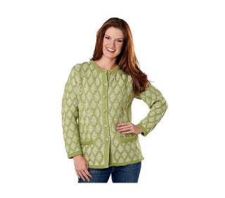 Aran Craft Merino Wool Button Colored Cable Cardigan   QVC