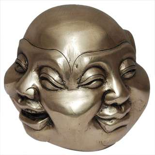 Laughing Buddha Head Four Faces brass Statue Sculpture