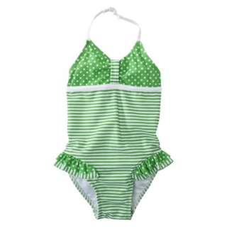 Circo® Infant Toddler Girls 1 Piece Stripedot Swim Suit   Green.Opens