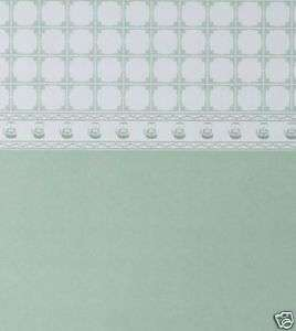 Dolls House Wallpaper   Teapot Tile Green PACK 2 SHEETS