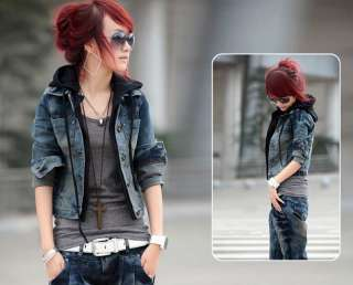 women worn denim jacket vintage outwear faux 2PC hoodie