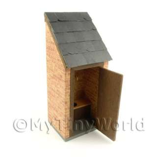 Outside Toilet Real Slate Roof Dolls House Miniatures