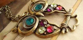 Vintage Colorful Owl crystals pendant Necklace SN0088