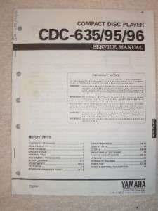 Yamaha Service Manual~CDC 635/95/96~CD Disc Player