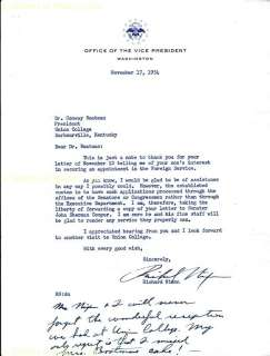 RICHARD M. NIXON   TYPED LETTER SIGNED 11/17/1954