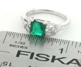 14K WHITE GOLD VINTAGE 1.80CT VS2/ F DIAMOND AND EMERALD WEDDING RING