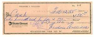 1985 TED WILLIAMS Rare Dual Signed Personal Check Autod Front & Back
