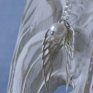 silver and pearls angel wings necklace by hurley burley