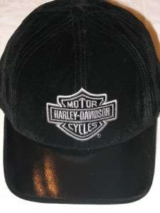HARLEY DAVIDSON BLACK VELVET BAR & SHIELD EMBROIDERED HAT CAP NEW