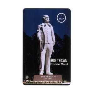 Collectible Phone Card 5m Sam Houston Statue Big Texan