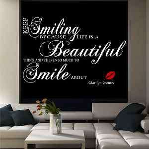 Marilyn Monroe Beautiful Smile wall quote sticker mural decal transfer