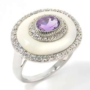 White Agate, Gemstone and White Zircon Sterling Silver Oval Ring at
