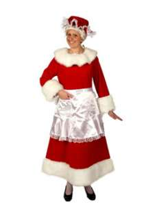 Large Red Velvet Mrs Claus Costume  Cheap Christmas Womens Costumes
