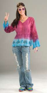 Groovy Baby V neck flowing pink top with blue trim and sequin accents