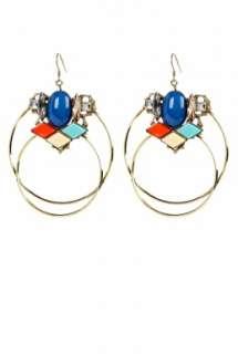 Anton Heunis  Double Hoop Crystal Cluster Earrings by Anton Heunis
