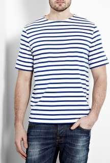 Saint James  White Blue Levant T Shirt by Saint James