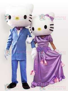 Hello Kitty Couple in Wedding Gown Adult Mascot Costume