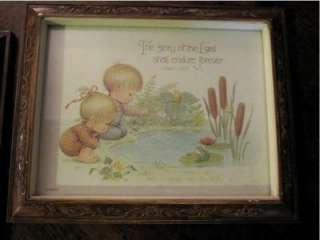 Set Vintage Precious Children Framed Print Psalms Art