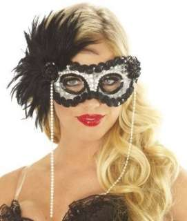 Black Fancy Feather Masquerade Mardi Gras Costume Mask