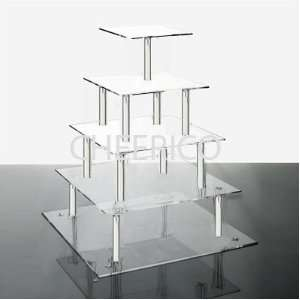 Tier Square Wedding Acrylic Cupcake Stand Tree Tower Cup Cake
